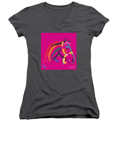Horse - Colour Me Strong Women's V-Neck T-Shirt (Junior Cut) by Go Van Kampen