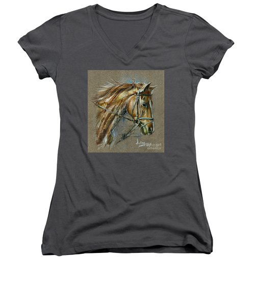 My Horse Face Drawing Women's V-Neck (Athletic Fit)