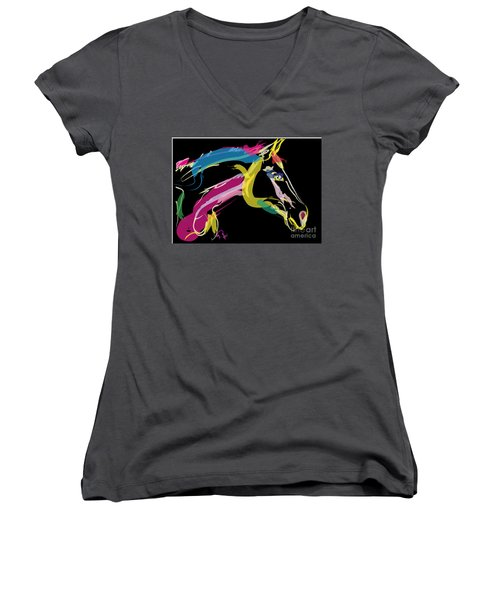 Horse- Lovely Colours Women's V-Neck T-Shirt (Junior Cut) by Go Van Kampen