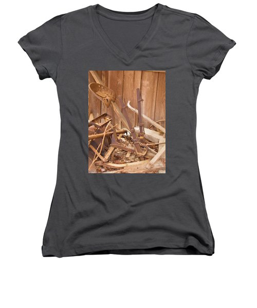 Women's V-Neck T-Shirt (Junior Cut) featuring the photograph Horsedrawn Disc by Nick Kirby