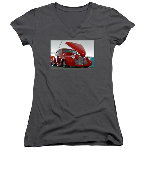 Women's V-Neck T-Shirt (Junior Cut) featuring the photograph Hot In Red by Shoal Hollingsworth