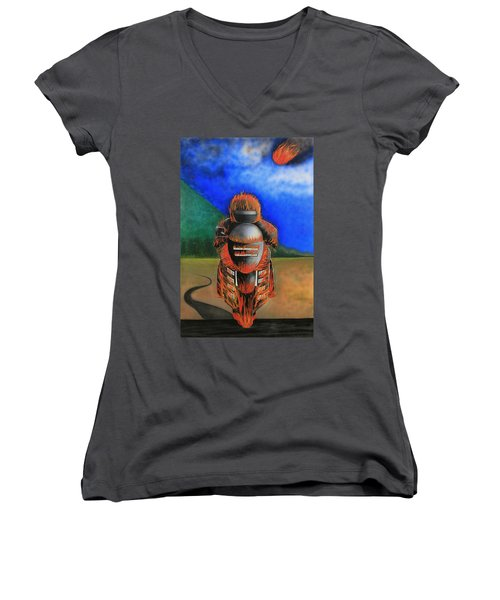 Women's V-Neck T-Shirt (Junior Cut) featuring the painting Hot Moto by Tim Mullaney