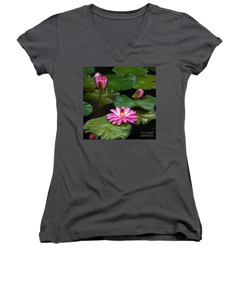Women's V-Neck featuring the photograph Hot Pink And Green Tropical Waterlilies by Byron Varvarigos