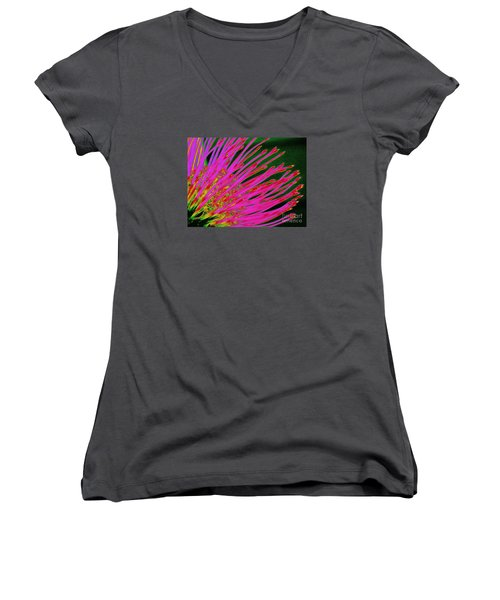 Hot Pink Protea Women's V-Neck T-Shirt