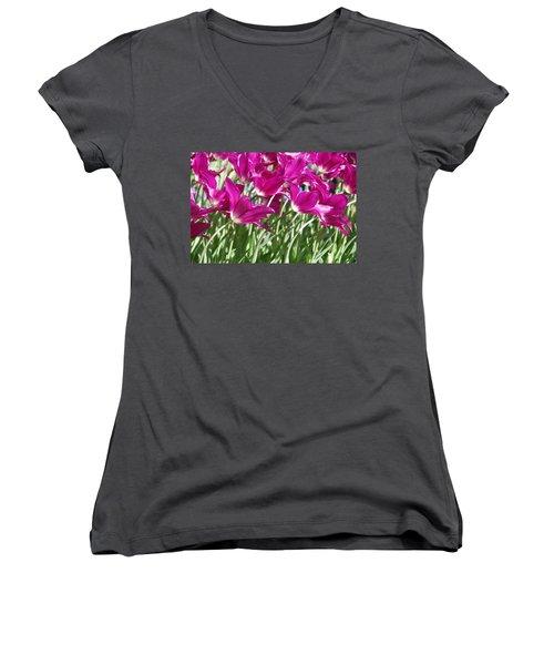 Women's V-Neck T-Shirt (Junior Cut) featuring the photograph Hot Pink Tulips 2 by Allen Beatty
