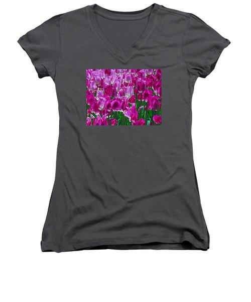 Hot Pink Tulips 3 Women's V-Neck T-Shirt (Junior Cut) by Allen Beatty