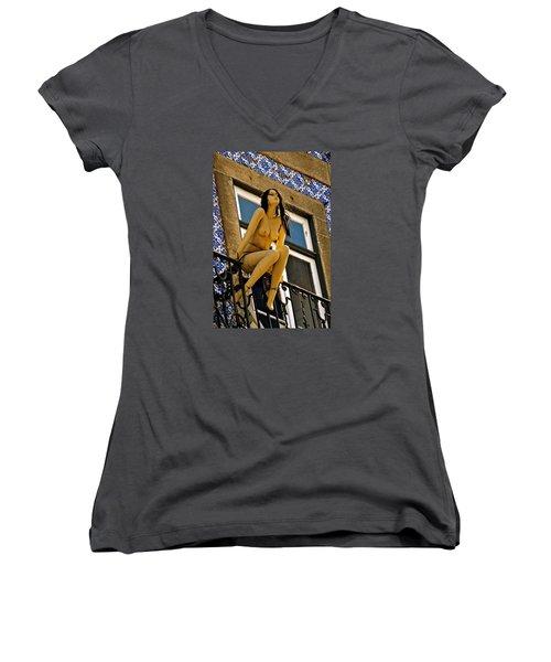Hot Summer Day In Portugal Women's V-Neck T-Shirt (Junior Cut) by Michael Cinnamond