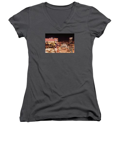Women's V-Neck T-Shirt (Junior Cut) featuring the photograph Hotel Vancouver And Wall Center Mdccv by Amyn Nasser
