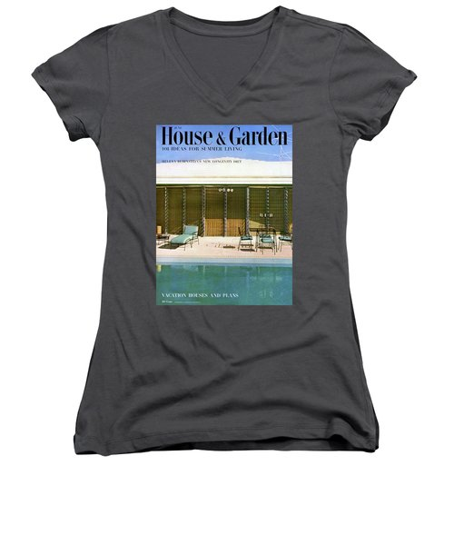 House & Garden Cover Of A Swimming Pool At Miami Women's V-Neck