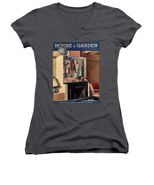 House And Garden Interior Decoration Number Cover Women's V-Neck