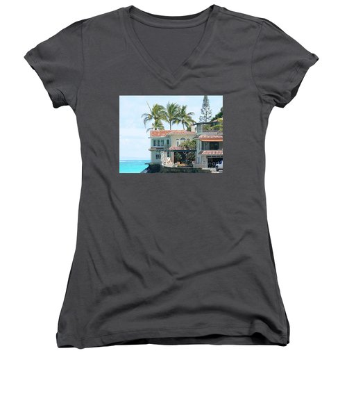 House At Land's End Women's V-Neck T-Shirt (Junior Cut) by Dona  Dugay
