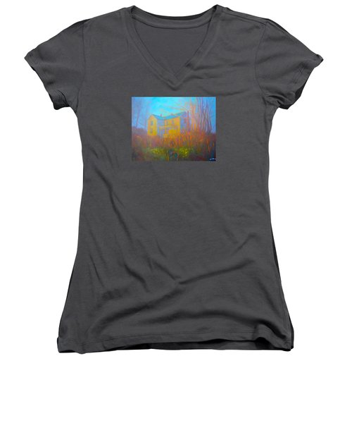 House In Blacksburg Women's V-Neck T-Shirt (Junior Cut) by Kendall Kessler