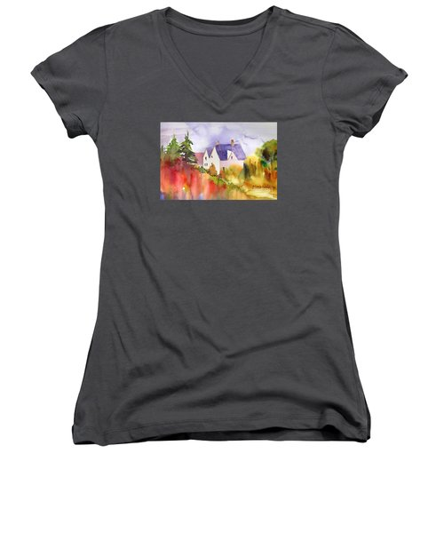 Women's V-Neck T-Shirt (Junior Cut) featuring the painting House In The Country by Yolanda Koh