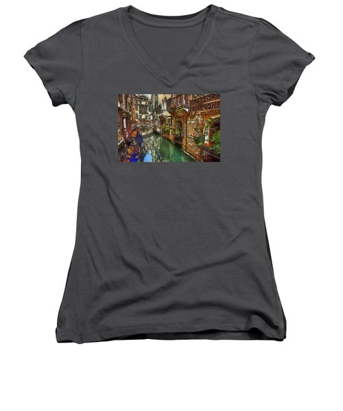 Houses In Venice Italy Women's V-Neck T-Shirt (Junior Cut) by Georgi Dimitrov