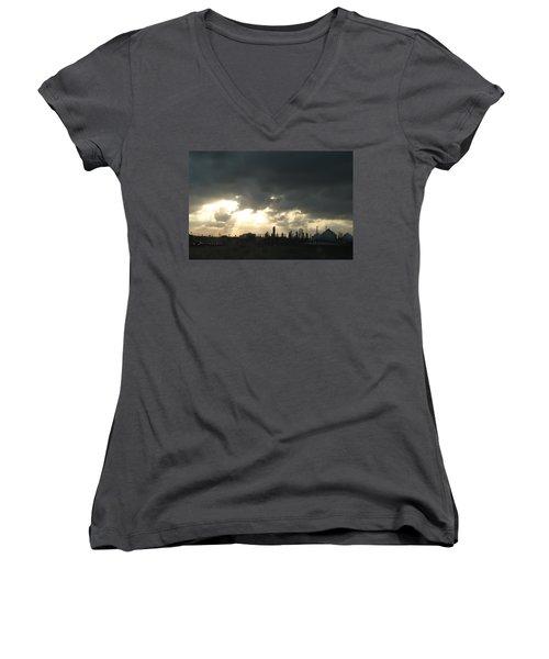 Houston Refinery At Dusk Women's V-Neck T-Shirt (Junior Cut) by Connie Fox