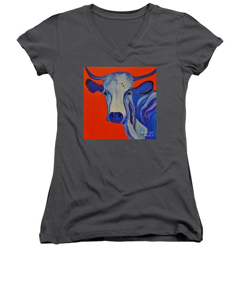 How Now Blue Cow Women's V-Neck (Athletic Fit)