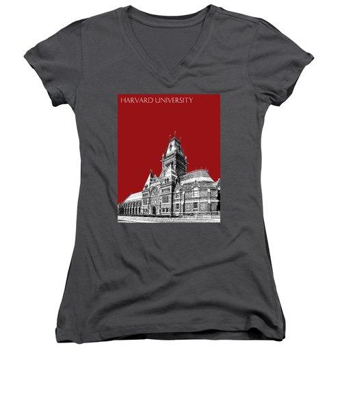 Harvard University - Memorial Hall - Dark Red Women's V-Neck (Athletic Fit)
