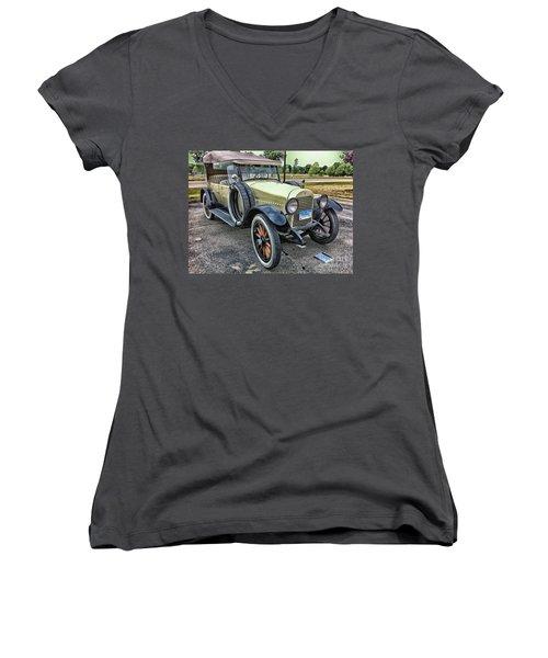 Women's V-Neck T-Shirt (Junior Cut) featuring the photograph hudson 1921 phaeton car HDR by Paul Fearn
