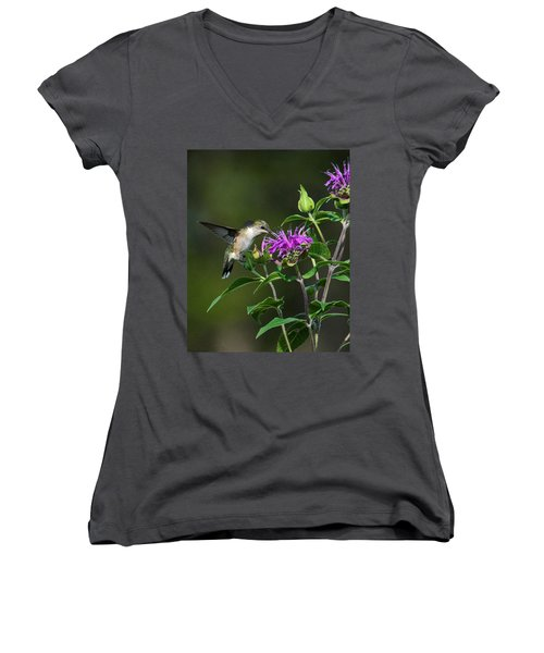 Hummer On Bee Balm Women's V-Neck (Athletic Fit)