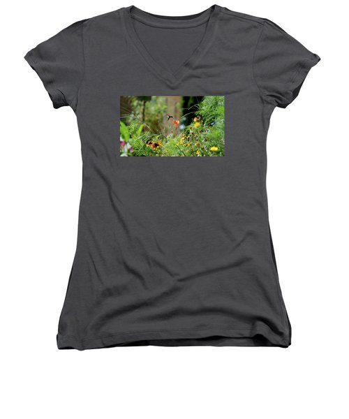 Women's V-Neck T-Shirt (Junior Cut) featuring the photograph Humming Bird by Thomas Woolworth