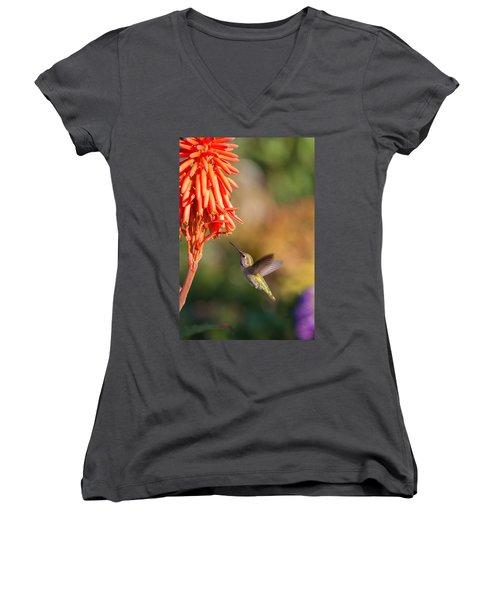 Hummingbird And Flower Women's V-Neck