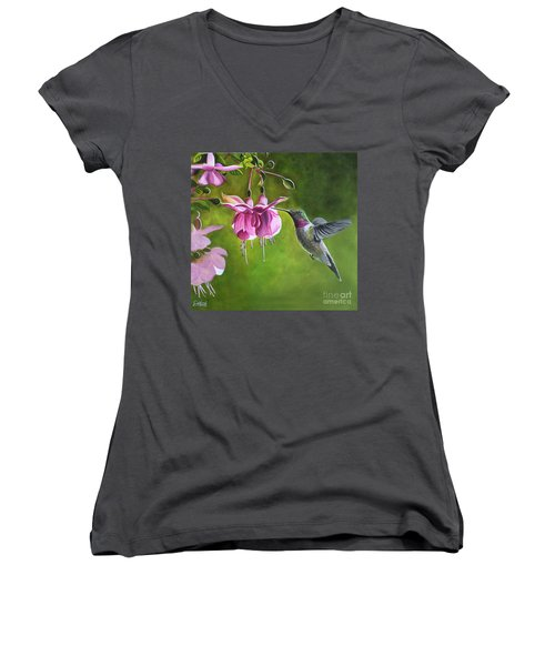 Hummingbird And Fuschia Women's V-Neck T-Shirt