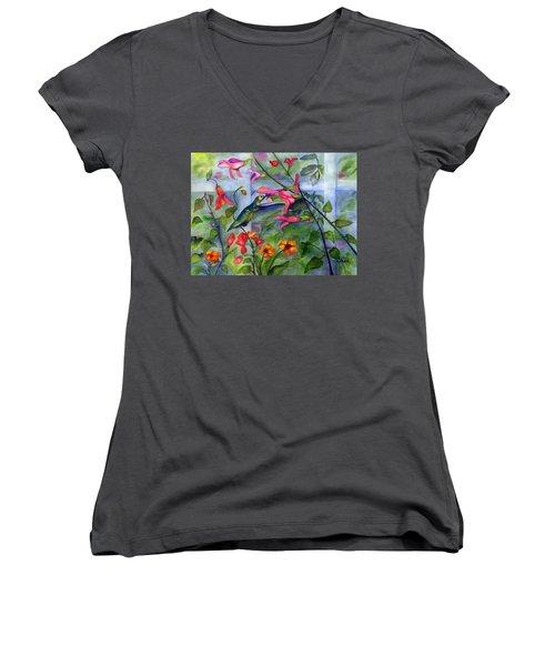 Hummingbird Dance Women's V-Neck (Athletic Fit)