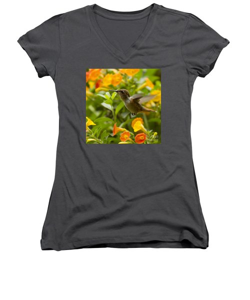 Hummingbird Looking For Food Women's V-Neck T-Shirt (Junior Cut) by Heiko Koehrer-Wagner