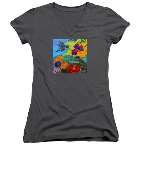 Hummingbirds Prayer Warriors Women's V-Neck T-Shirt