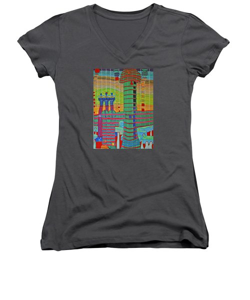 Hundertwasser Das Ende Griechenlands In 3d By J.j.b. Women's V-Neck T-Shirt