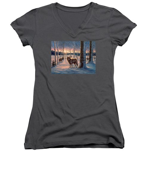 Hunters At Twilight Women's V-Neck T-Shirt