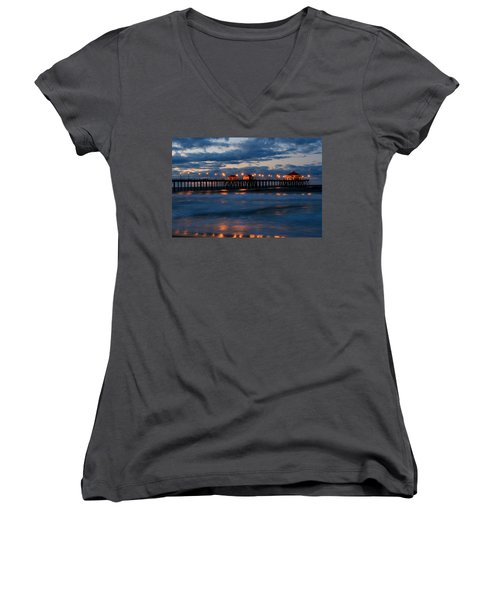 Huntington Beach Pier Lights  Women's V-Neck T-Shirt