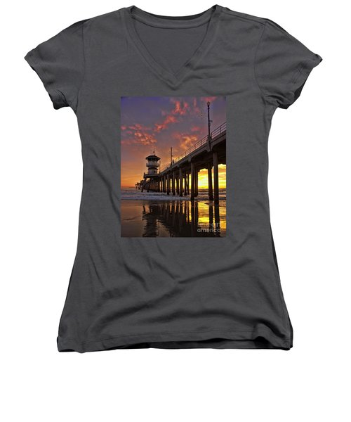 Huntington Beach Pier Women's V-Neck (Athletic Fit)