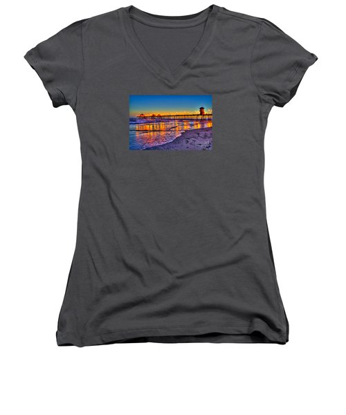 Huntington Beach Pier Sundown Women's V-Neck T-Shirt
