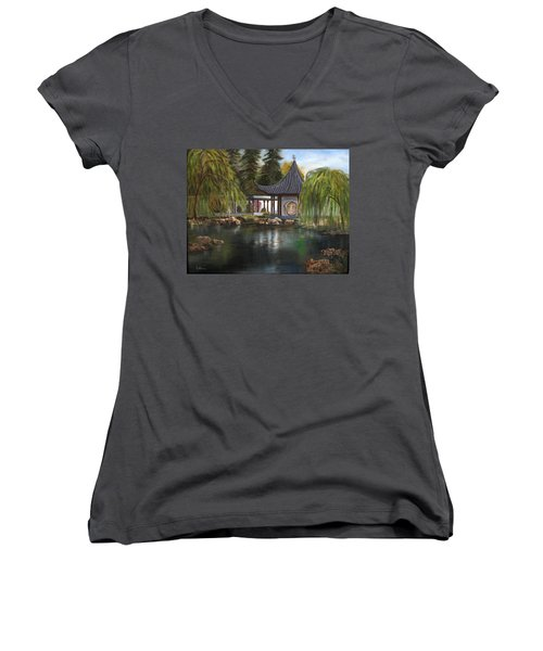 Women's V-Neck T-Shirt (Junior Cut) featuring the painting Huntington Chinese Gardens by LaVonne Hand