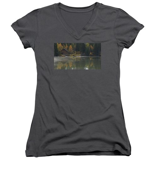 Hut By The Lake Women's V-Neck (Athletic Fit)