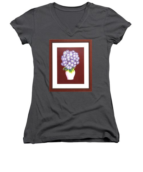 Women's V-Neck T-Shirt (Junior Cut) featuring the painting Hydrangea by Ron Davidson
