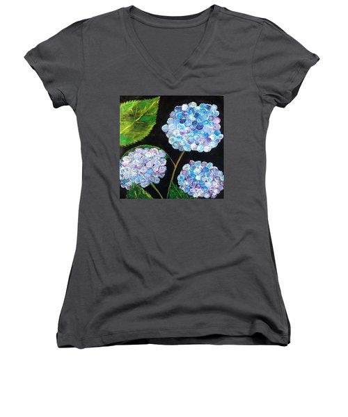 Women's V-Neck T-Shirt (Junior Cut) featuring the painting Hydrangeas  by Reina Resto