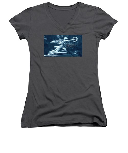 I Am Determined Women's V-Neck T-Shirt (Junior Cut) by Patrice Zinck