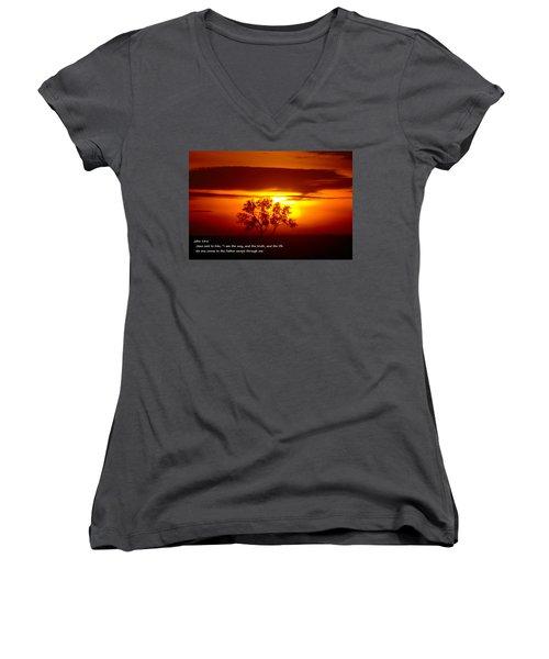 I Am The Way John 14-6 Women's V-Neck T-Shirt (Junior Cut) by Jeff Swan