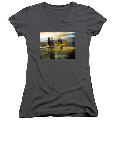 Women's V-Neck T-Shirt (Junior Cut) featuring the photograph I Had A Dream That You And Your Friends Were There by Alex Lapidus