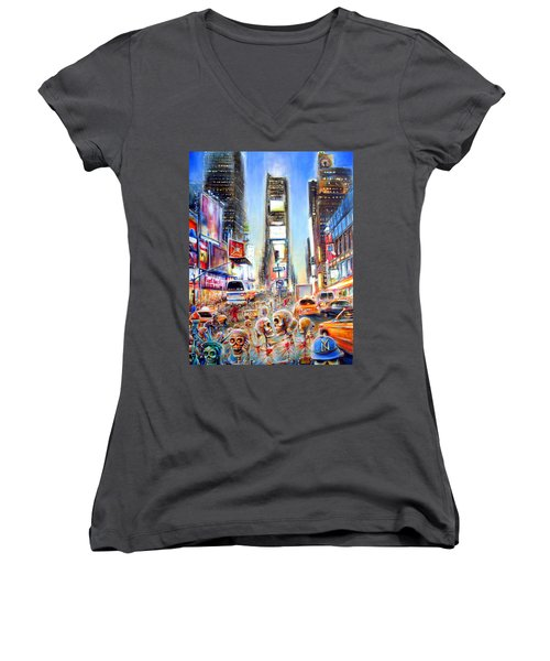 Women's V-Neck T-Shirt (Junior Cut) featuring the painting I Heart Ny by Heather Calderon