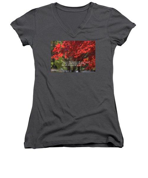 I Honor The Essence Of Who I Am Women's V-Neck T-Shirt (Junior Cut) by Patrice Zinck
