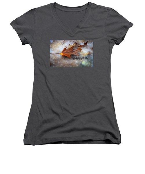 I Let Go Women's V-Neck T-Shirt (Junior Cut) by Patrice Zinck