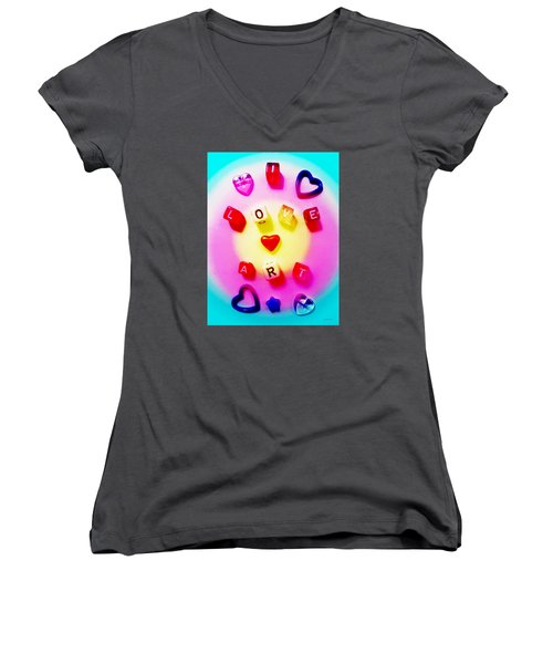 Women's V-Neck T-Shirt (Junior Cut) featuring the photograph I Love Art by Shawna Rowe