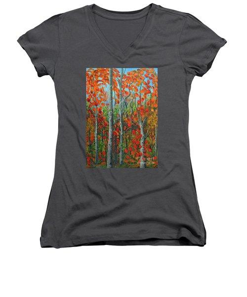 I Love Fall Women's V-Neck T-Shirt (Junior Cut) by Holly Carmichael