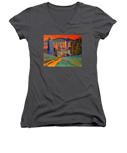 I Love New York City Jazz Women's V-Neck T-Shirt (Junior Cut) by Art James West