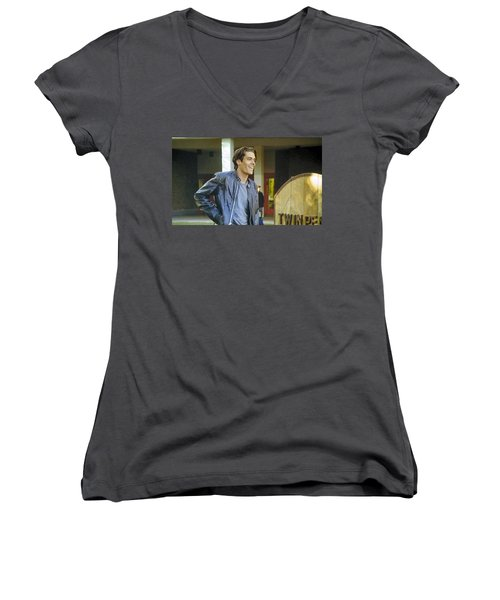 Women's V-Neck T-Shirt (Junior Cut) featuring the painting I Love You Babe by Luis Ludzska