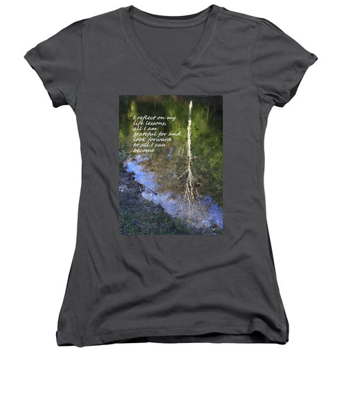I Reflect Women's V-Neck T-Shirt (Junior Cut) by Patrice Zinck