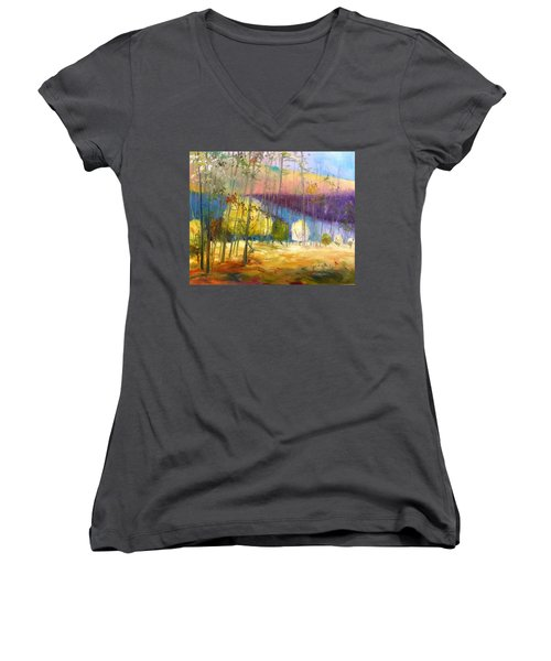 Women's V-Neck T-Shirt (Junior Cut) featuring the painting I See A Glow by John Williams